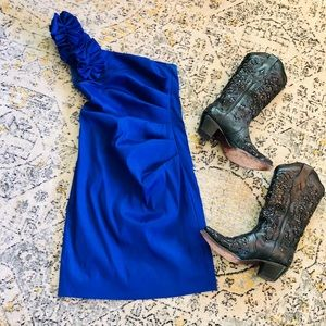 Hailey Logan one shoulder royal blue dress